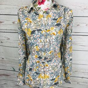 Vintage feel H&M 12 floral button up blouse